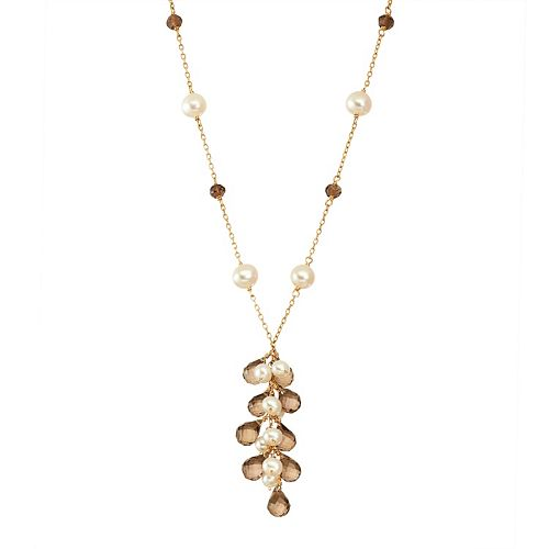 14k Gold Smoky Quartz & Freshwater Cultured Pearl Y Necklace