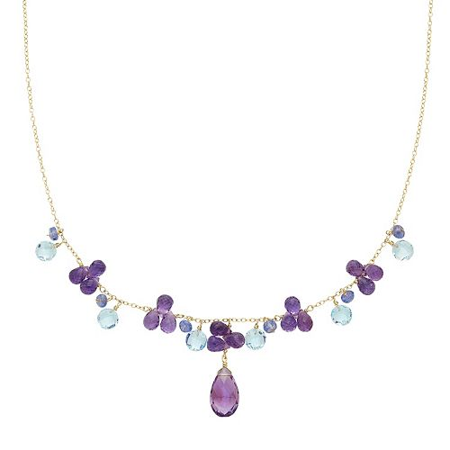14k Gold Amethyst, Sky Blue Topaz & Tanzanite Necklace