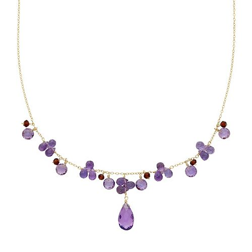 14k Gold Amethyst & Garnet Necklace