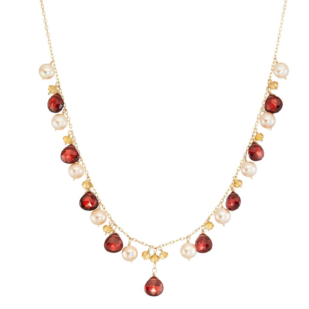 14k Gold Garnet, Citrine & Freshwater Cultured Pearl Necklace