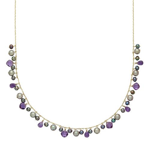 14k Gold Amethyst & Dyed Freshwater Cultured Pearl Necklace