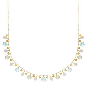 14k Gold Gemstone Briolette Necklace