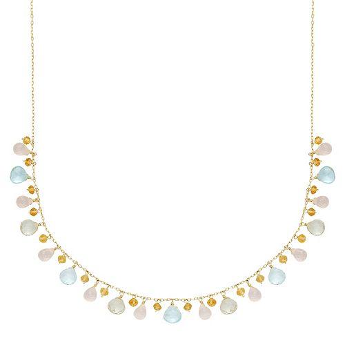 14k Gold Gemstone Briolette Necklace