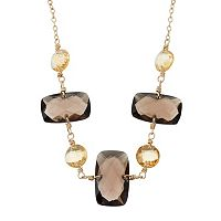14k Gold Smoky Quartz & Citrine Necklace