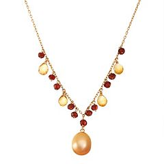14k Gold Garnet, Citrine & Dyed Freshwater Cultured Pearl Y Necklace