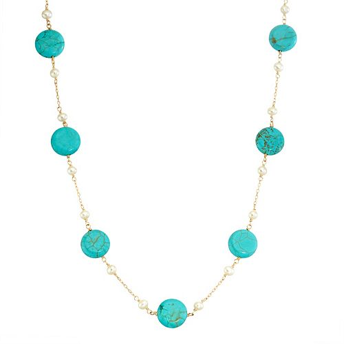 14k Gold Turquoise &  Freshwater Cultured Pearl Station Necklace