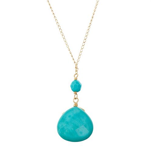14k Gold Turquoise Y  Necklace