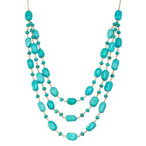 14k Gold Turquoise Multistrand Swag Necklace