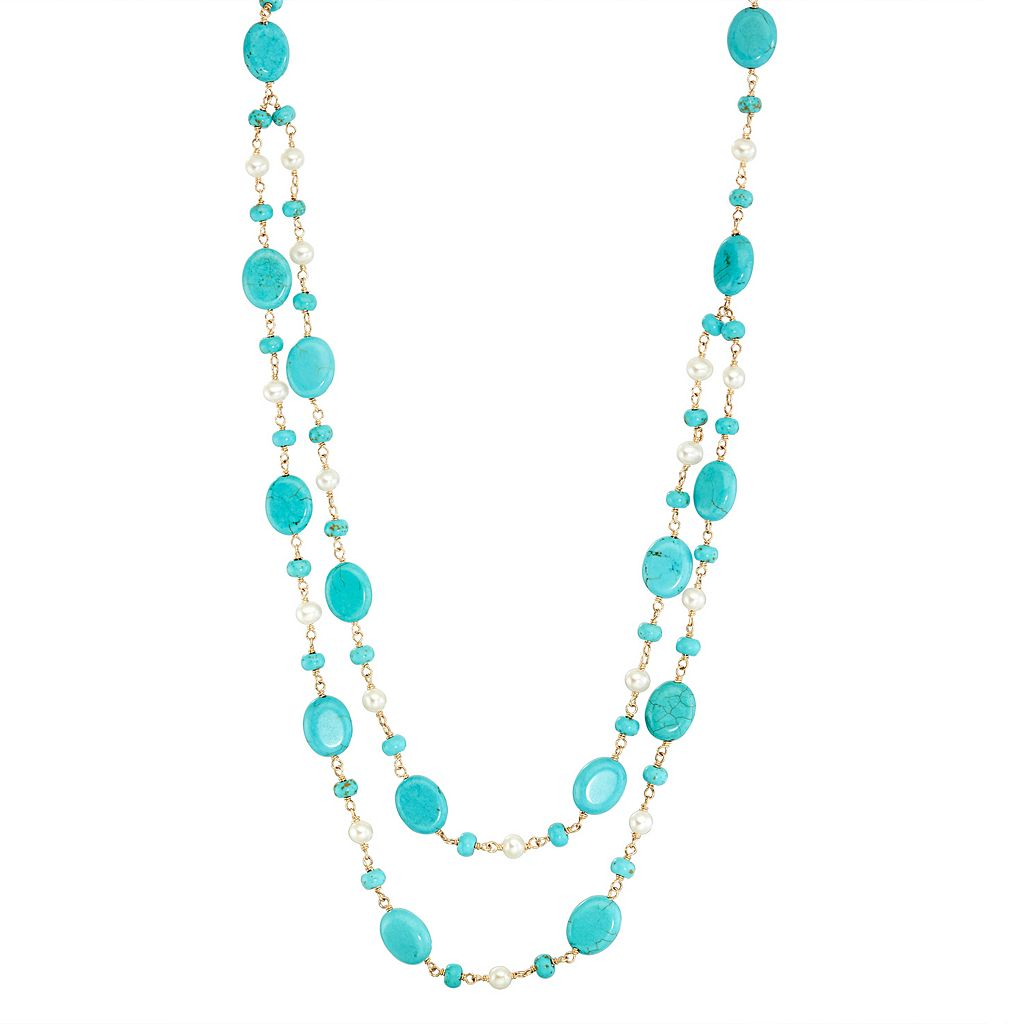 14k Gold Turquoise & Freshwater Cultured Pearl Swag Necklace