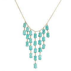 14k Gold Turquoise Bib Necklace