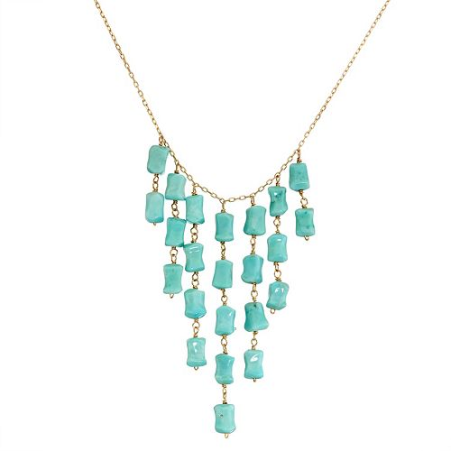 14k Gold Turquoise Bib Necklace