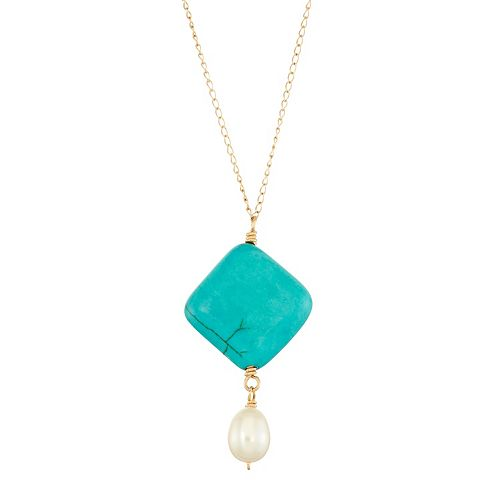 14k Gold Simulated Turquoise &  Freshwater Cultured Pearl Y Necklace