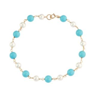 14k Gold Simulated Turquoise & Freshwater Cultured Pearl Station Bracelet