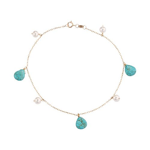 14k Gold Turquoise & Freshwater Cultured Pearl Station Anklet
