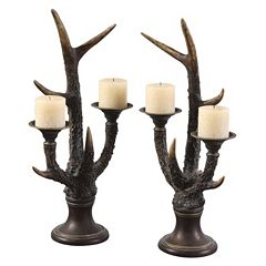 Stag Horn 2-piece Candle Holder Set