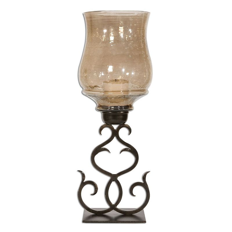 Sorel Candle Holder, Multicolor Shape up your home décor with this curvaceous candle holder. Filigree design What's Included Candle holder 3  x 3  white candle 23.25 H x 8.25 W x 8.25 D Metal, glass Wipe clean Model no. 19562 Size: One size. Color: Multicolor. Gender: Unisex. Age Group: Adult. Material: Glass/Metal.
