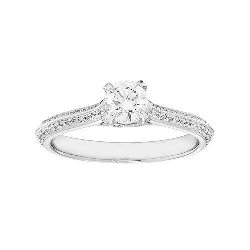 14k White Gold 3/4 Carat T.W. IGL Certified Diamond Engagement Ring