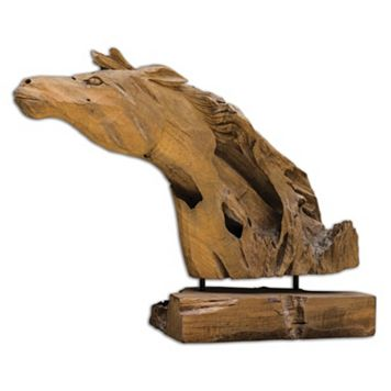 Teak Wood Horse Table Decor