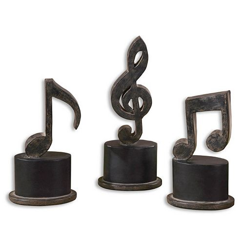 Music Notes Statue Table Decor 3-piece Set