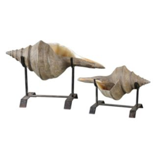 Conch Shell Sculpture Table Decor 2-piece Set