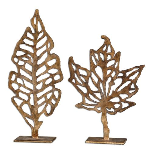 Hazuki Leaf Sculpture Table Decor 2-piece Set
