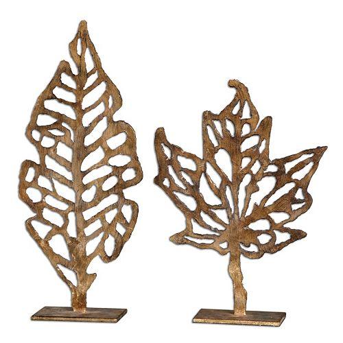 Hazuki Leaf Sculpture Table Decor 2-piece Set