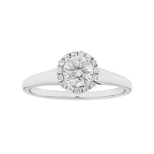 14k White Gold 5/8 Carat T.W. IGL Certified Diamond Flower Engagement Ring