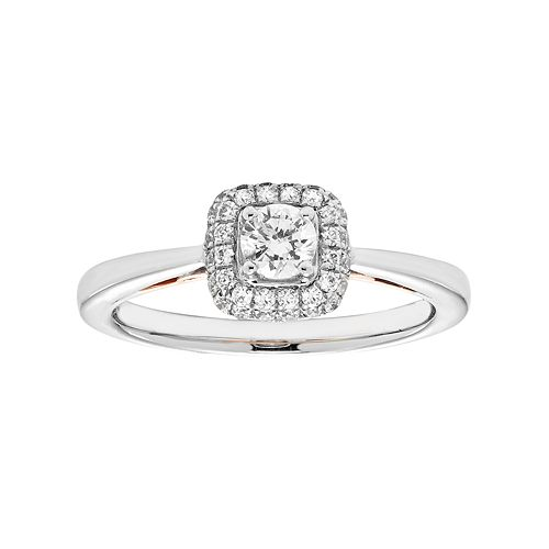 14k White Gold 1/2 Carat T.W. IGL Certified Diamond Square Halo Engagement Ring