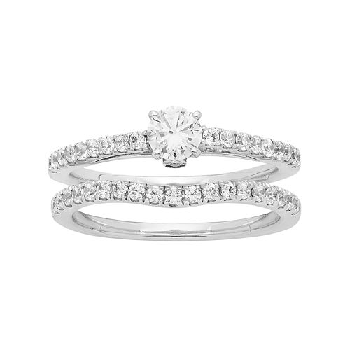 14k White Gold 7/8 Carat T.W. IGL Certified Diamond Engagement Ring Set