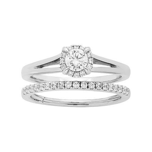 14k White Gold 5/8 Carat T.W. IGL Certified Diamond Halo Engagement Ring Set