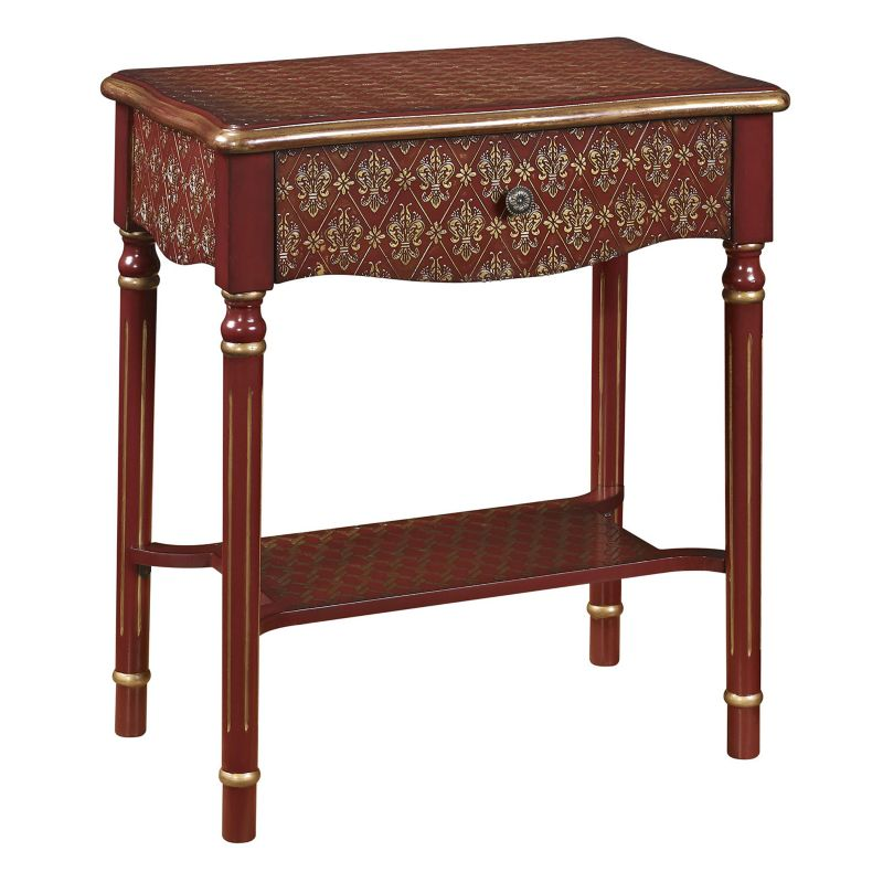 Elegant Scroll End Table, Red