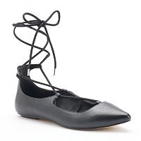 Chelsea & Zoe Alpha Women's Lace-Up Ballet Flats