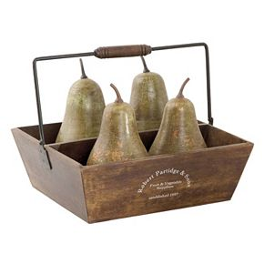 Pears In Basket Table Decor 5-pc. Set
