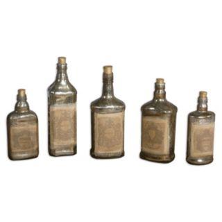 Mercury Glass Bottle Table Decor 5-piece Set