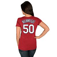 Women's Majestic St. Louis Cardinals Adam Wainwright Name and Number Tee