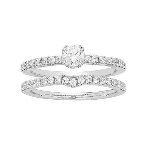 14k White Gold 3/4 Carat T.W. IGL Certified Diamond Engagement Ring Set