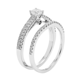 14k White Gold 3/4 Carat T.W. IGL Certified Diamond Engagement Ring Set