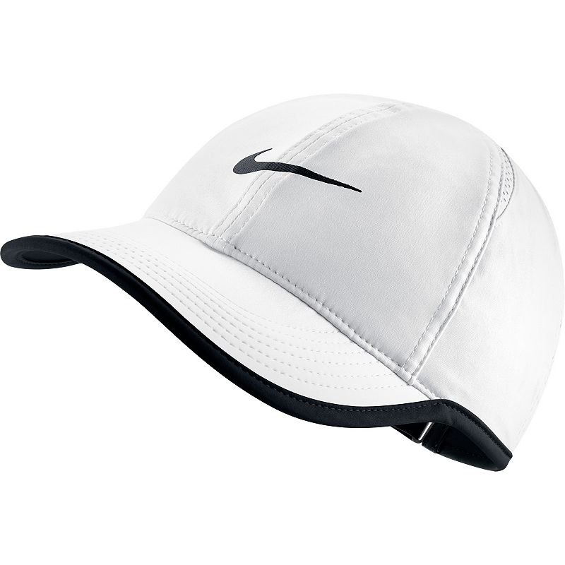 Women's Nike Featherlight Dri-FIT Hat, White Sport this Nike women's Featherlight adjustable hat. Its Dri-FIT technology helps eliminate moisture for lasting dryness, so you'll always enjoy a comfortable workout. Moisture-wicking technology Mesh side panels for breathability Embroidered Nike Swoosh adds sporty style Adjustable closure ensures a customized fit FIT & SIZING One size fits most FABRIC & CARE Polyester Hand wash Imported Hit your fitness goals with Kohl's healthy selection of coordinating exercise accessories and equipment for women by Nike. Pull your hair back with an adjustable hat, experience freedom of movement with running tights and hit your stride with shock-absorbing training shoes. For a flattering look while you get fit, mix and match high-energy solids with playful patterns and inspiring messages. Enjoy peak physical performance with Nike's advanced Dri-FIT wicking properties and lightweight fabrics. Ventilated insulation and rain protection helps you keep up with your fitness routine in any condition. Whether you're focused on speed and agility or range of motion, Nike has you covered with sport-specific shoes and clothing. Conquer the court and dominate the field with the legendary comfort and convenience of Nike sporting goods products. Color: White. Gender: female. Age Group: adult.