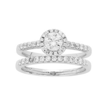 14k White Gold 3/4 Carat T.W. IGL Certified Diamond Halo Engagement Ring Set