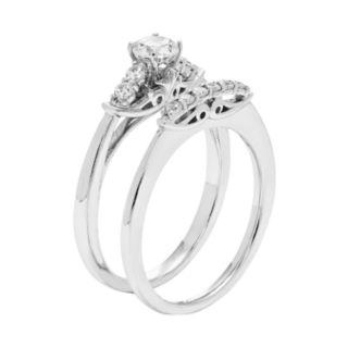 14k White Gold 1/2 Carat T.W. IGL Certified Diamond Engagement Ring Set
