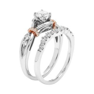 14k White Gold 7/8 Carat T.W. IGL Certified Diamond Twist Engagement Ring Set