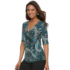 Women's Dana Buchman Printed Surplice Top