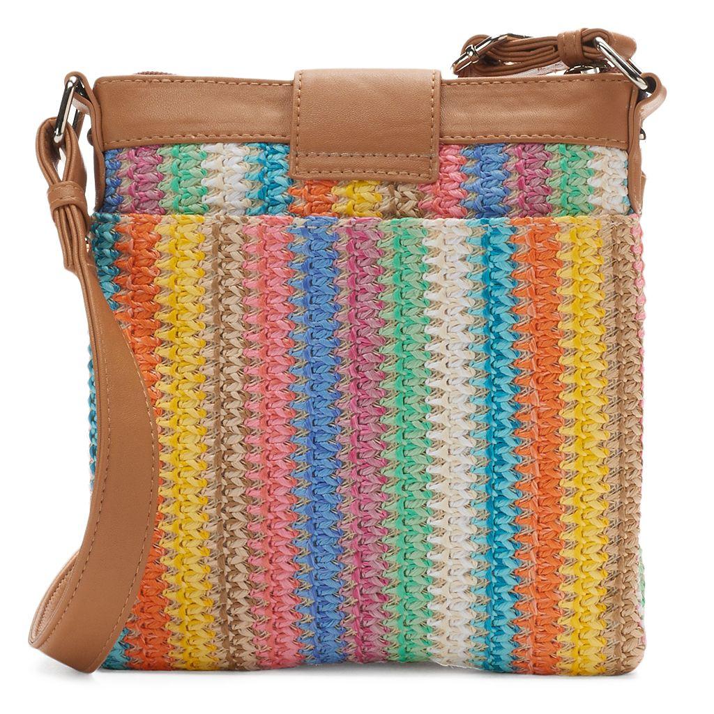 Rosetti Double-Time Straw Crossbody Bag
