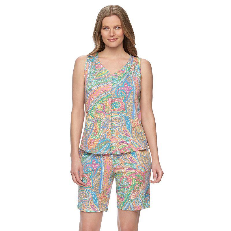 Plus Size Chaps Pajamas: Hampton Chic Top & Shorts Pajama Set