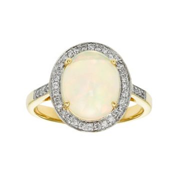The Regal Collection 14k Gold Opal & 1/6 Carat T.W. Diamond Halo Ring