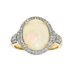 The Regal Collection 14k Gold Opal & 5/8 Carat T.W. Diamond Halo Ring
