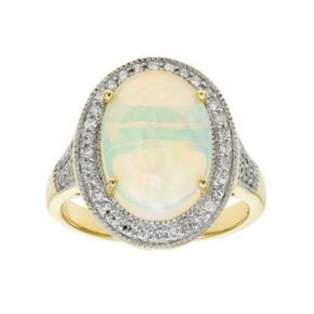The Regal Collection 14k Gold Opal & 3/8 Carat T.W. Diamond Halo Ring