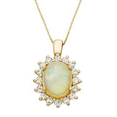 The Regal Collection 14k Gold Opal & 1/2 Carat T.W. Diamond Halo Pendant