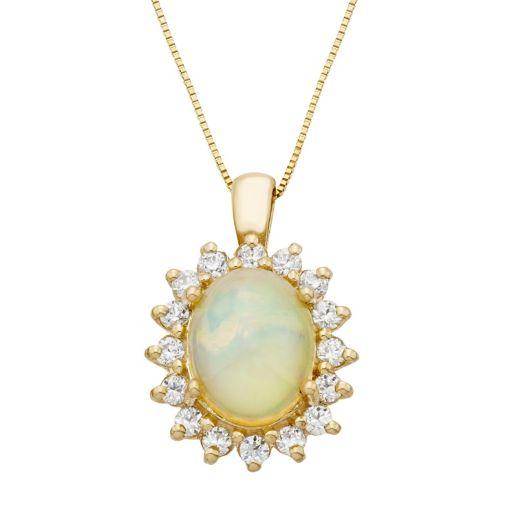 The Regal Collection 14k Gold Opal & 1/2 Carat T.W. Diamond Halo Pendant