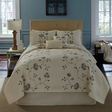 Always Home Flowering Vine Embroidered Quilt